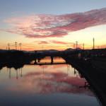 竹馬川の夕日(小倉南区曽根干潟周防灘河口)
