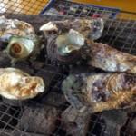 カキ小屋で焼く豊前一粒牡蠣