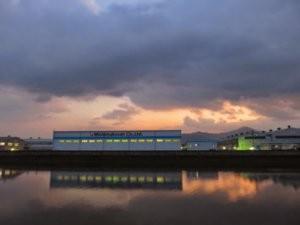 竹馬川沿い三島興産工場